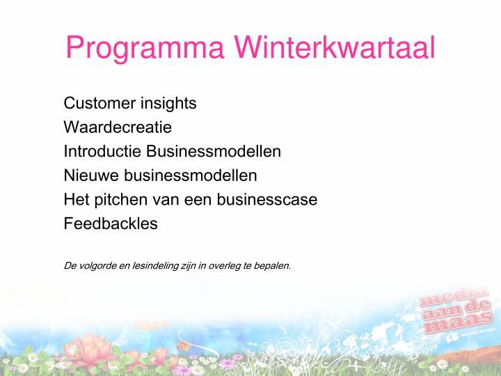 Programma Winterkwartaal