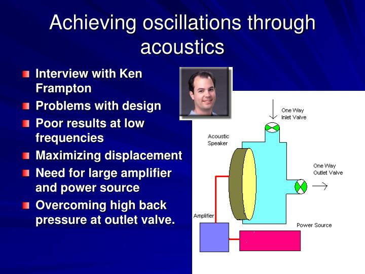 Achieving oscillations through acoustics