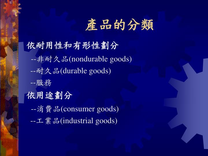 產品的分類