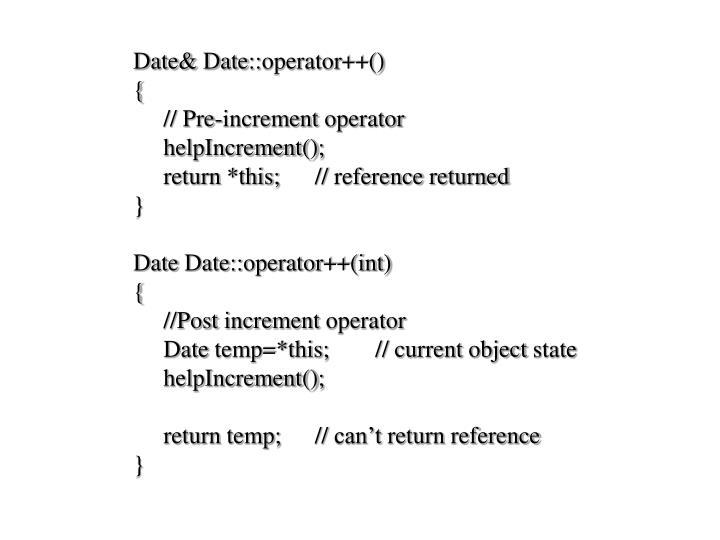 Date& Date::operator++()