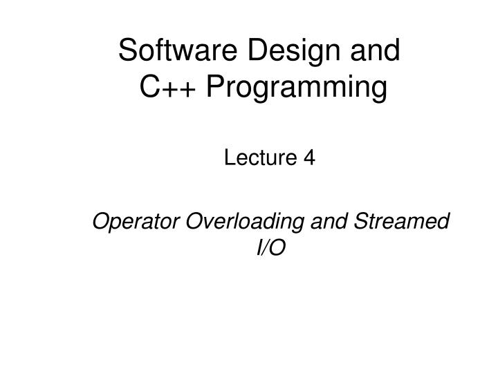 Software design and c programming