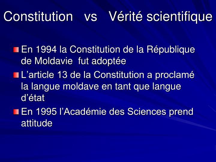 Constitution   vs   Vérité scientifique