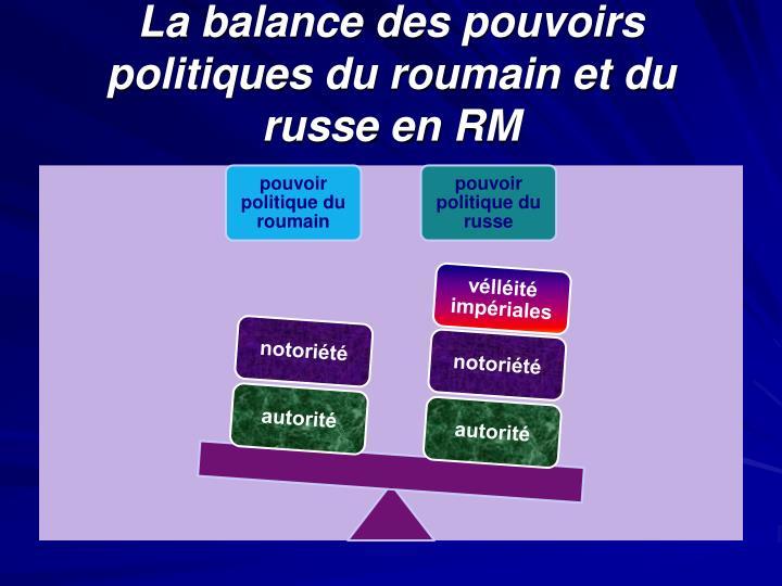 La balance des pouvoirs politiques du roumain et du russe en RM