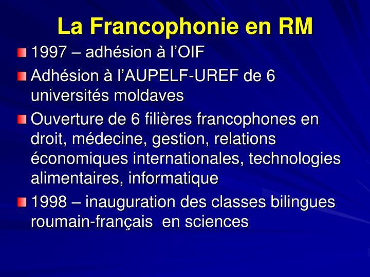 La Francophonie en RM