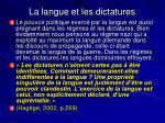 la langue et les dictatures