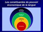 les constituantes du pouvoir conomique de la langue