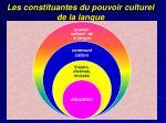 les constituantes du pouvoir culturel de la langue