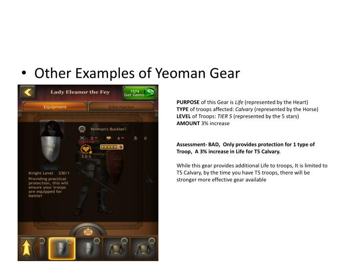 Other Examples of Yeoman Gear