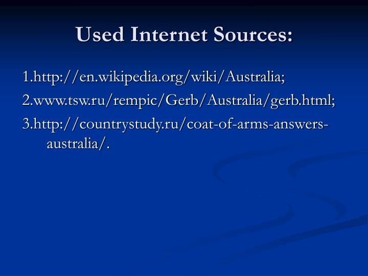 Used Internet Sources: