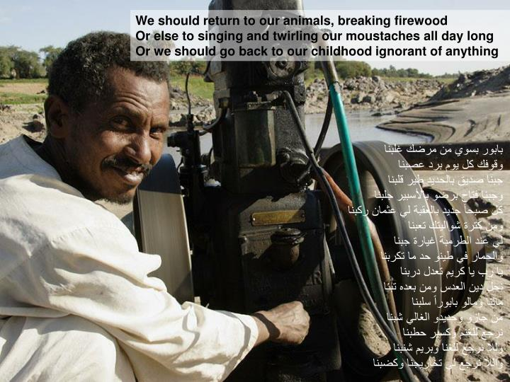 We should return to our animals, breaking firewood