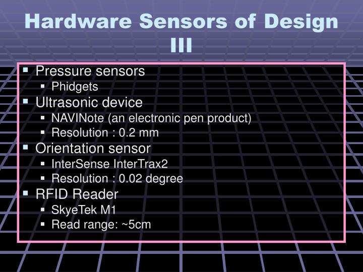 Hardware Sensors of Design III