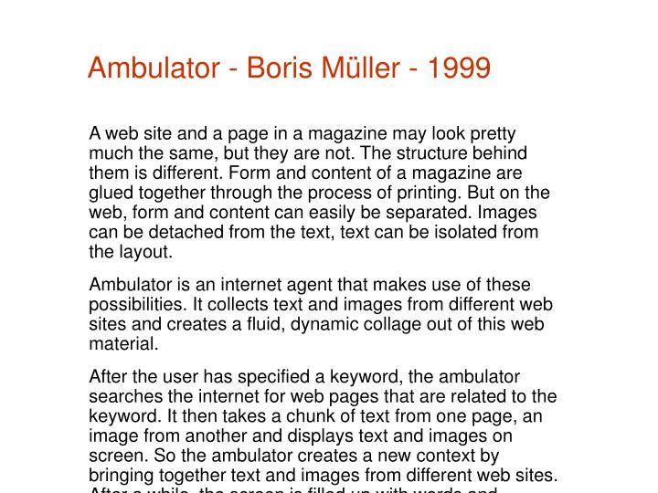 Ambulator - Boris Müller - 1999