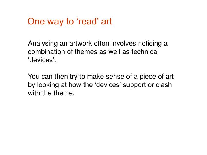 One way to read art