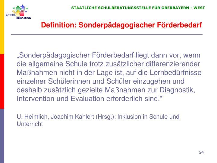 Definition: Sonderpädagogischer Förderbedarf