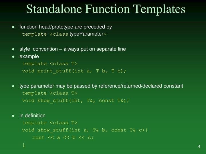 Standalone Function Templates