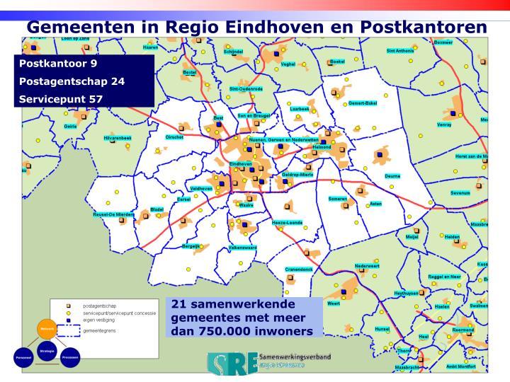 Gemeenten in Regio Eindhoven en Postkantoren