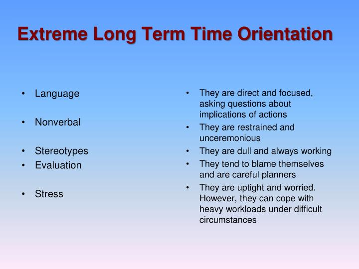 longterm orientation vs short term orientation in gung ho move A great article that takes all levels of job-seekers through exercises and plans for both short-term and long-term career exploration and planning.