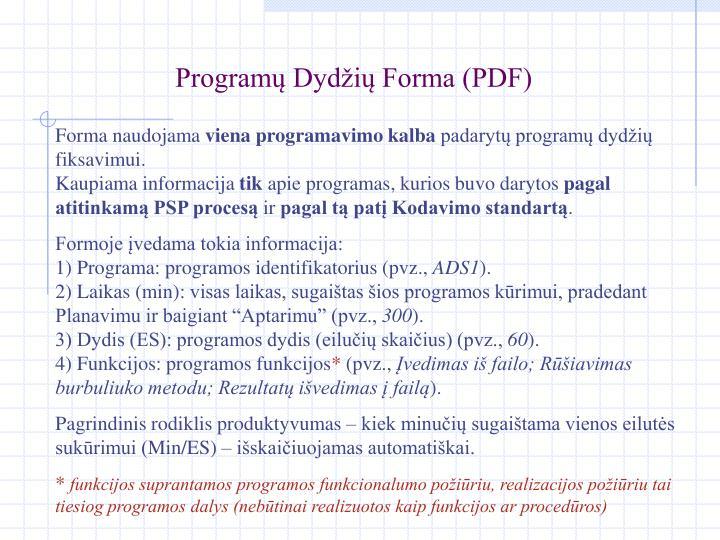 Programų Dydžių Forma (PDF)