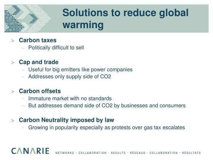 Solutions to reduce global warming