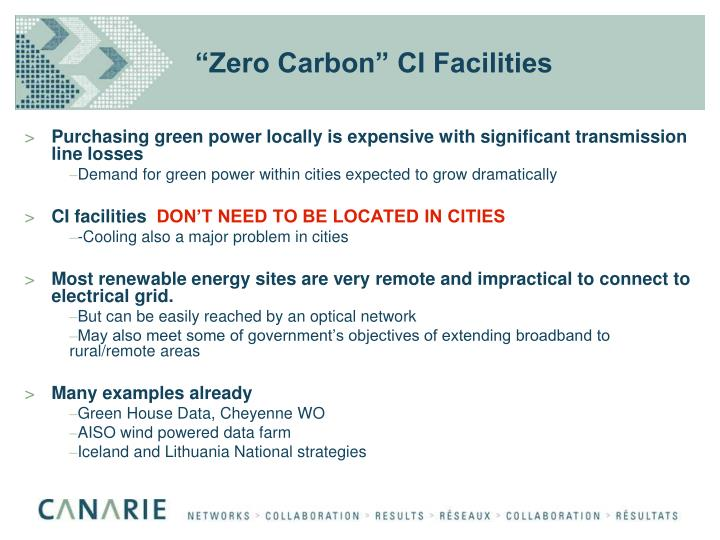 """Zero Carbon"" CI Facilities"