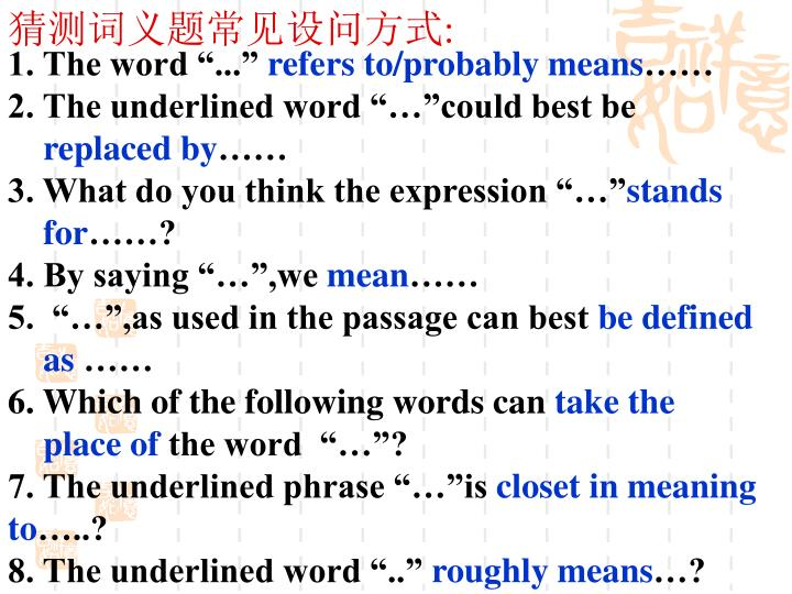 猜测词义题常见设问方式