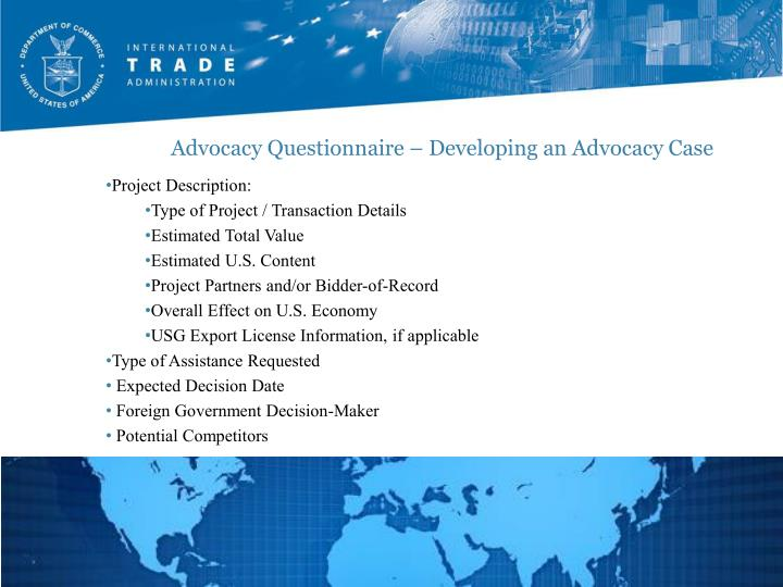 Advocacy Questionnaire – Developing an Advocacy Case