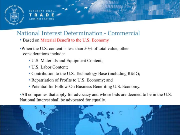 National Interest Determination - Commercial