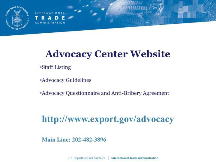 Advocacy Center Website