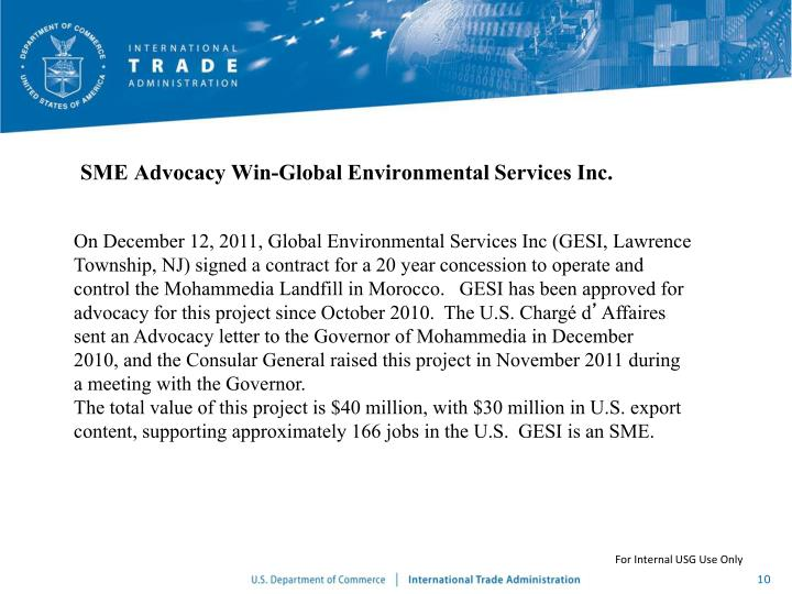 SME Advocacy Win-Global Environmental Services Inc.