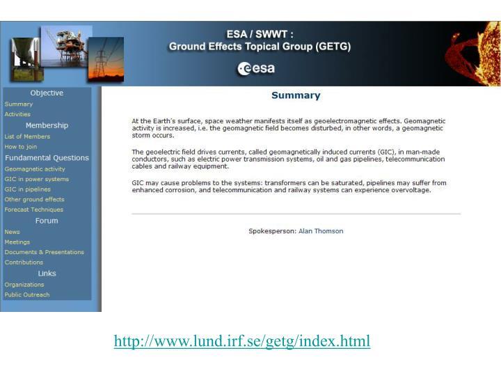 http://www.lund.irf.se/getg/index.html