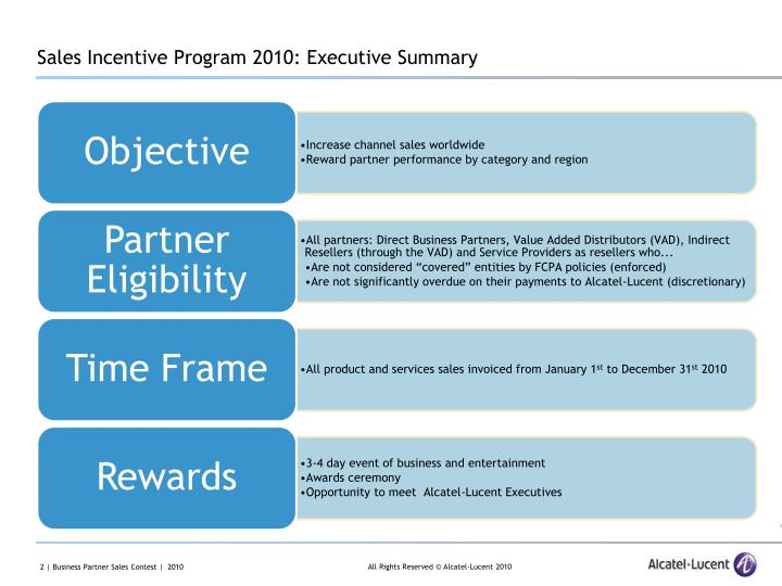 Sales Incentive Program 2010: Executive Summary