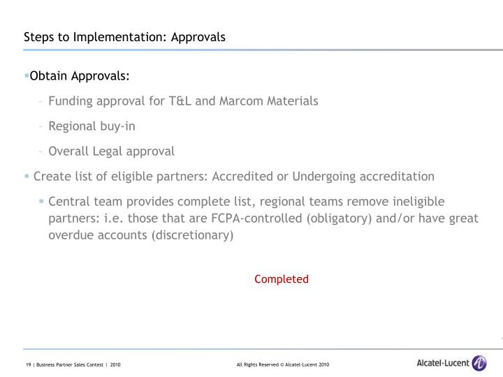 Steps to Implementation: Approvals