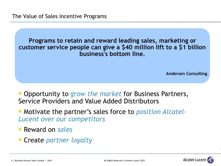 The Value of Sales Incentive Programs