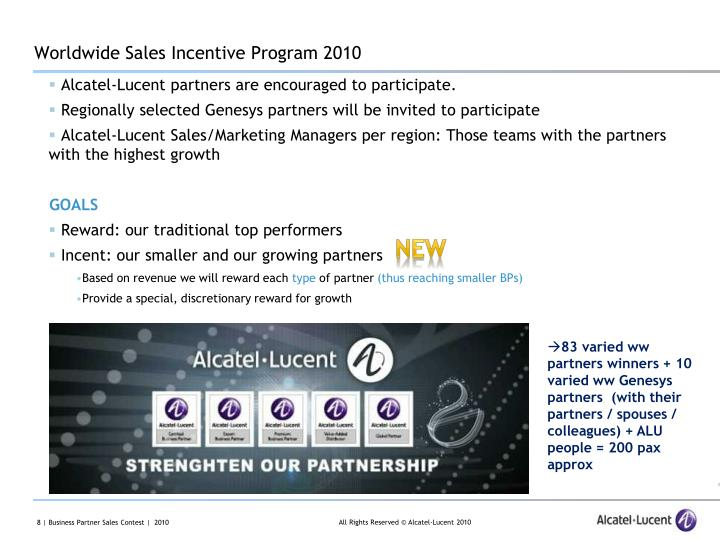 Worldwide Sales Incentive Program 2010