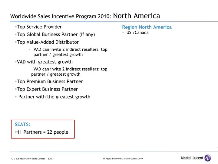 Worldwide Sales Incentive Program 2010: