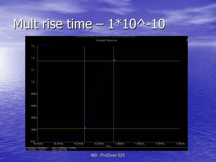 Mult rise time – 1*10^-10
