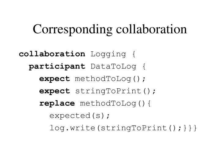 Corresponding collaboration