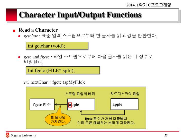 Character Input/Output Functions