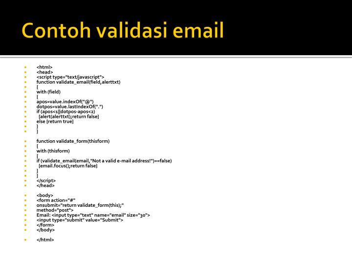 Contoh validasi email