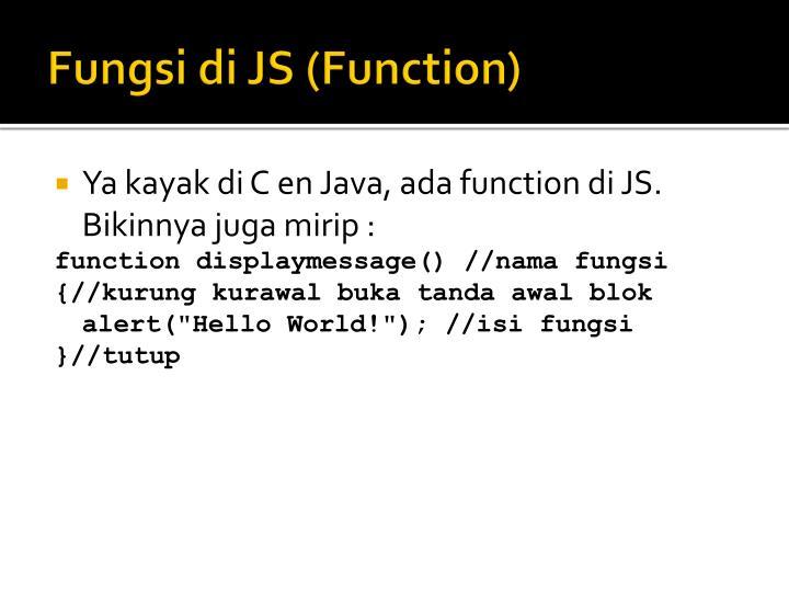 Fungsi di JS (Function)
