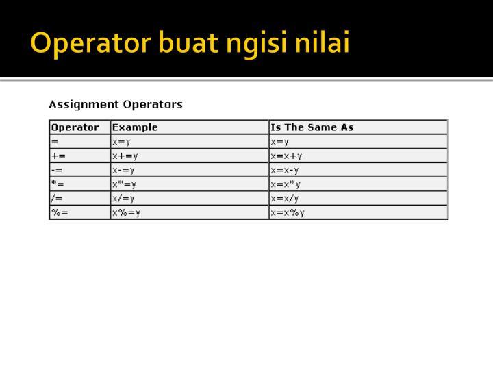 Operator buat ngisi nilai