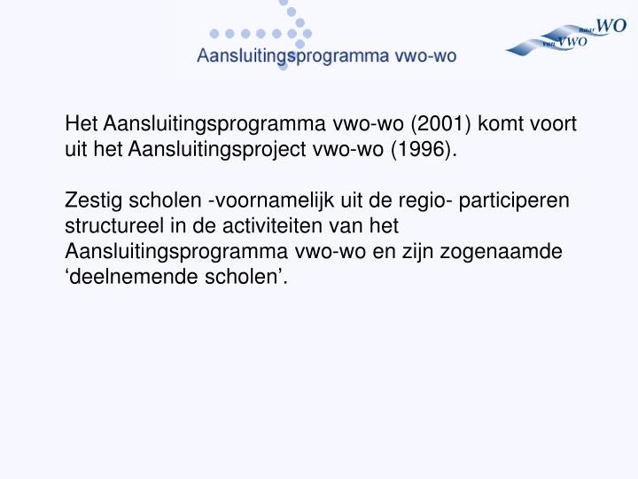Het Aansluitingsprogramma vwo-wo (2001) komt voort