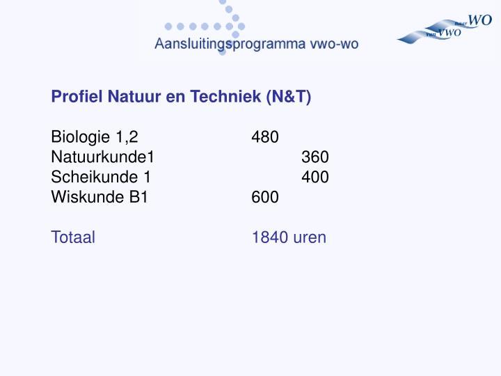 Profiel Natuur en Techniek (N&T)