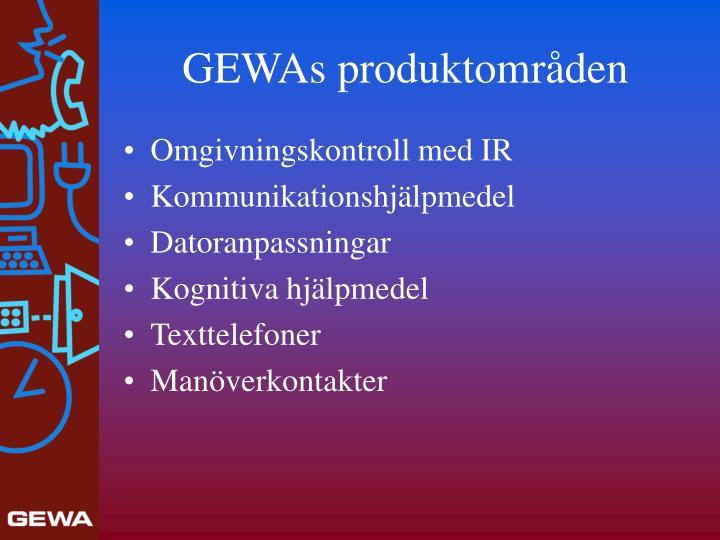 GEWAs produktområden