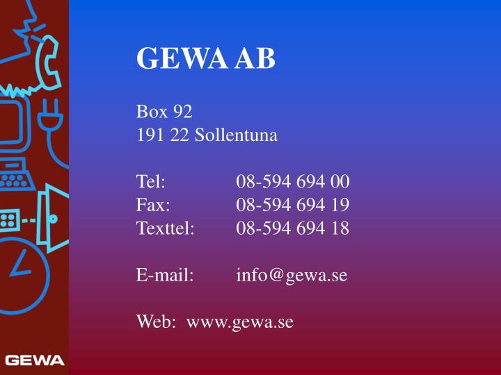 GEWA AB