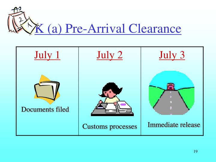 K (a) Pre-Arrival Clearance