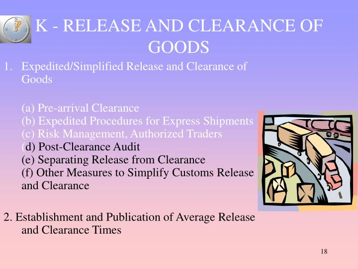 K - RELEASE AND CLEARANCE OF GOODS
