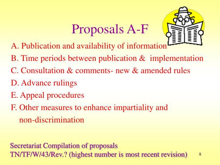 Proposals A-F