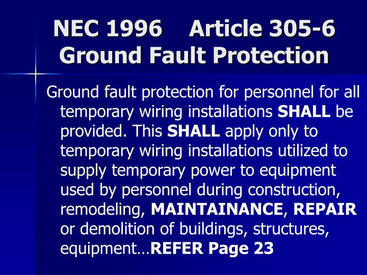 NEC 1996    Article 305-6