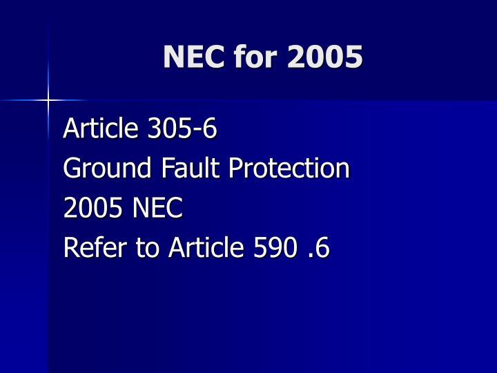 NEC for 2005